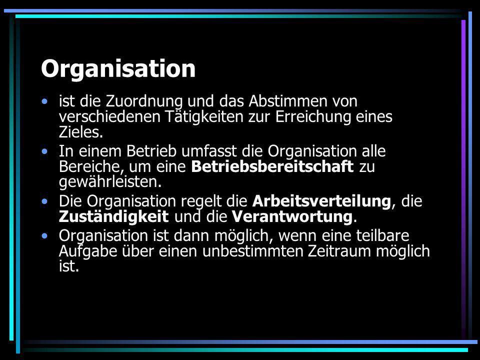 Organisation ist die Zuordnung und das Abstimmen von verschiedenen Tätigkeiten zur Erreichung eines Zieles.