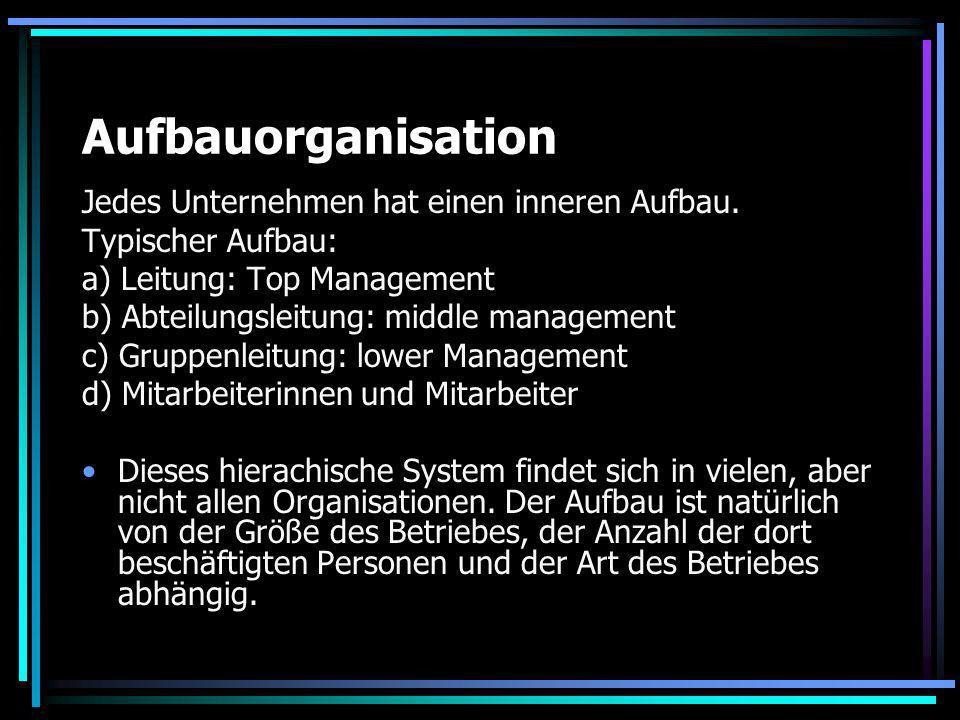 Aufbauorganisation Jedes Unternehmen hat einen inneren Aufbau.