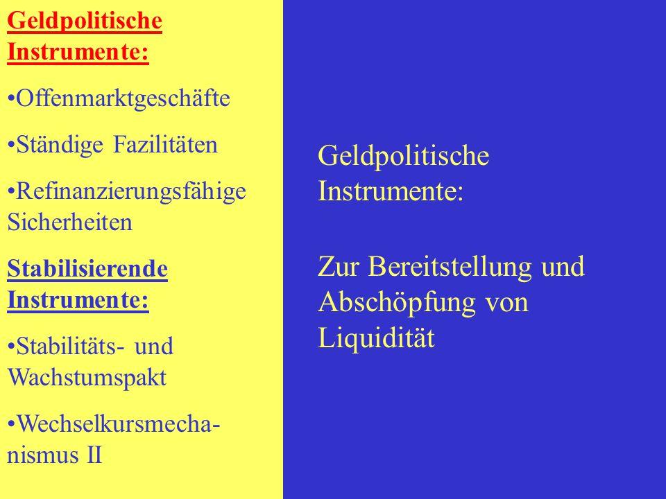 Geldpolitische Instrumente: