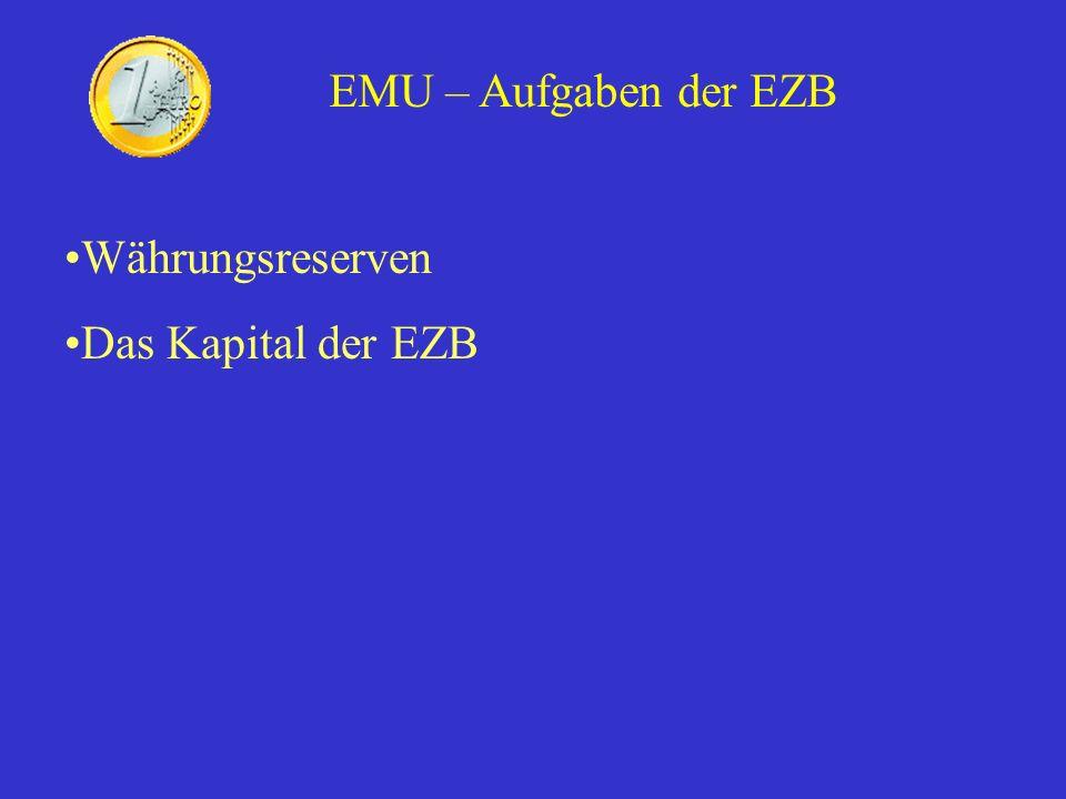 EMU – Aufgaben der EZB Währungsreserven Das Kapital der EZB