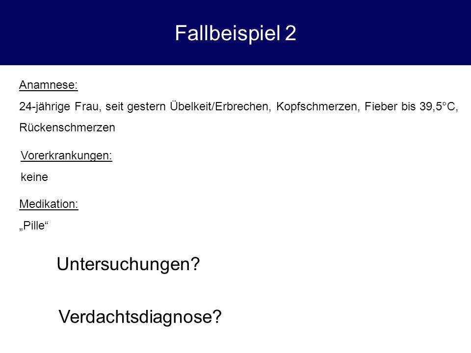 Fallbeispiel 2 Untersuchungen Verdachtsdiagnose Anamnese: