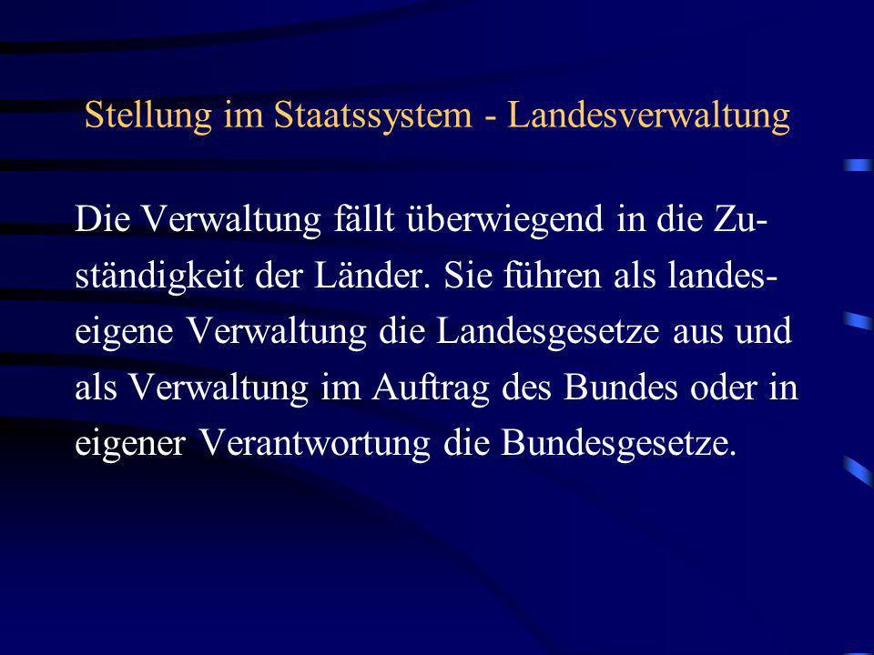 Stellung im Staatssystem - Landesverwaltung