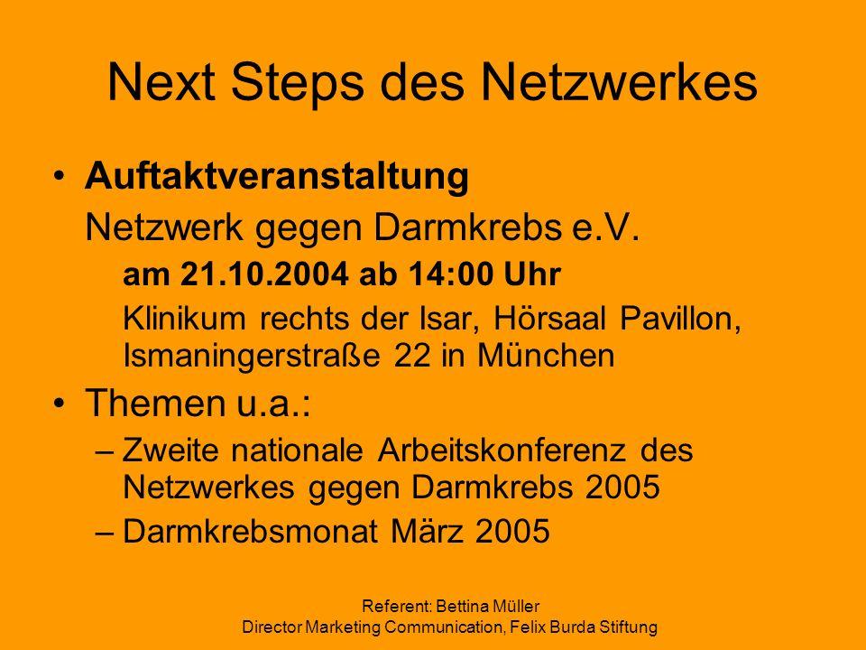 Next Steps des Netzwerkes