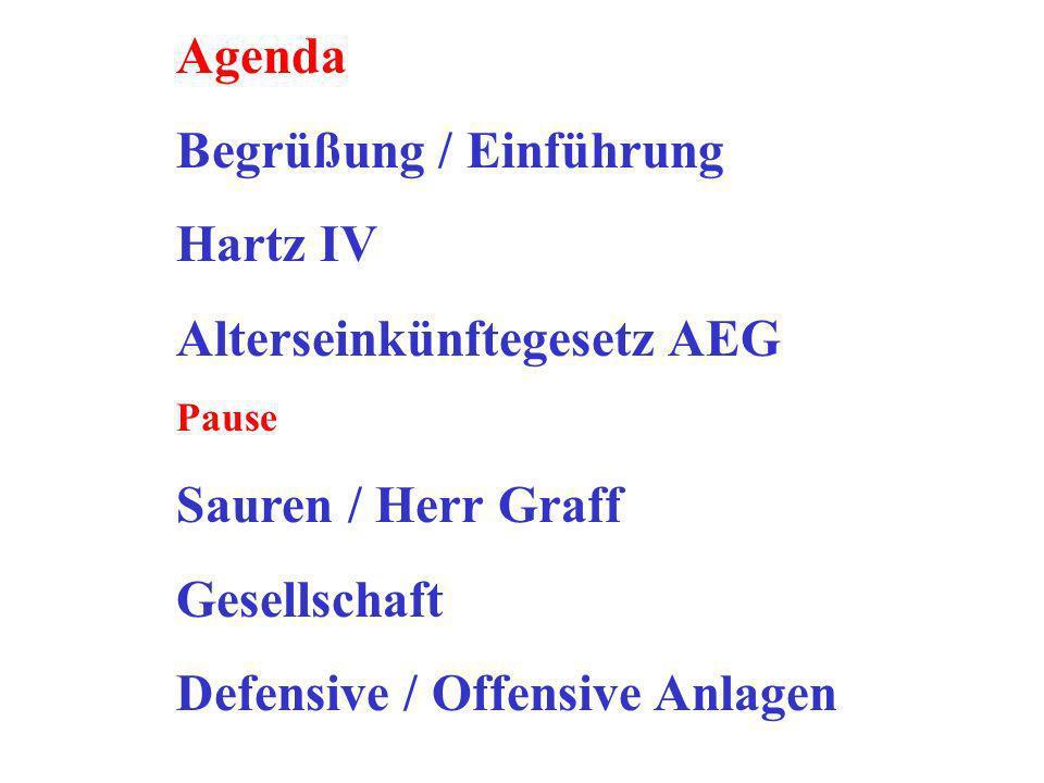 Begrüßung / Einführung Hartz IV Alterseinkünftegesetz AEG