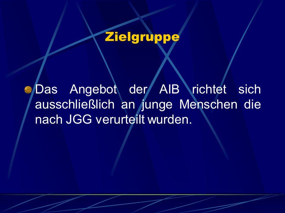 Zielgruppe Das Angebot der AIB richtet sich ausschließlich an junge Menschen die nach JGG verurteilt wurden.
