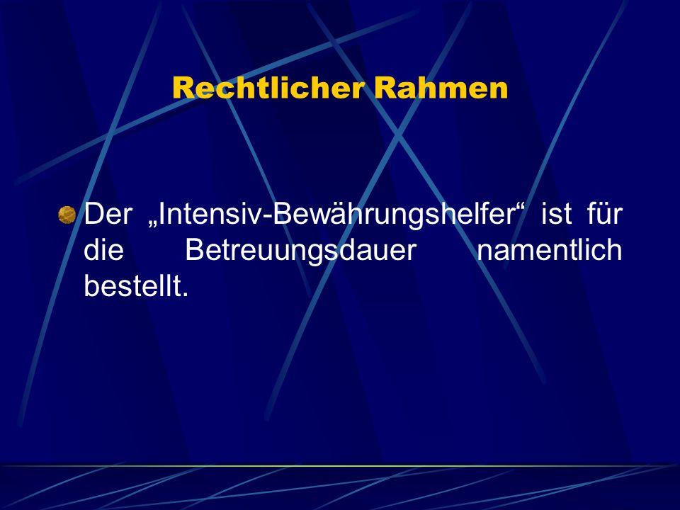 """Rechtlicher Rahmen Der """"Intensiv-Bewährungshelfer ist für die Betreuungsdauer namentlich bestellt."""