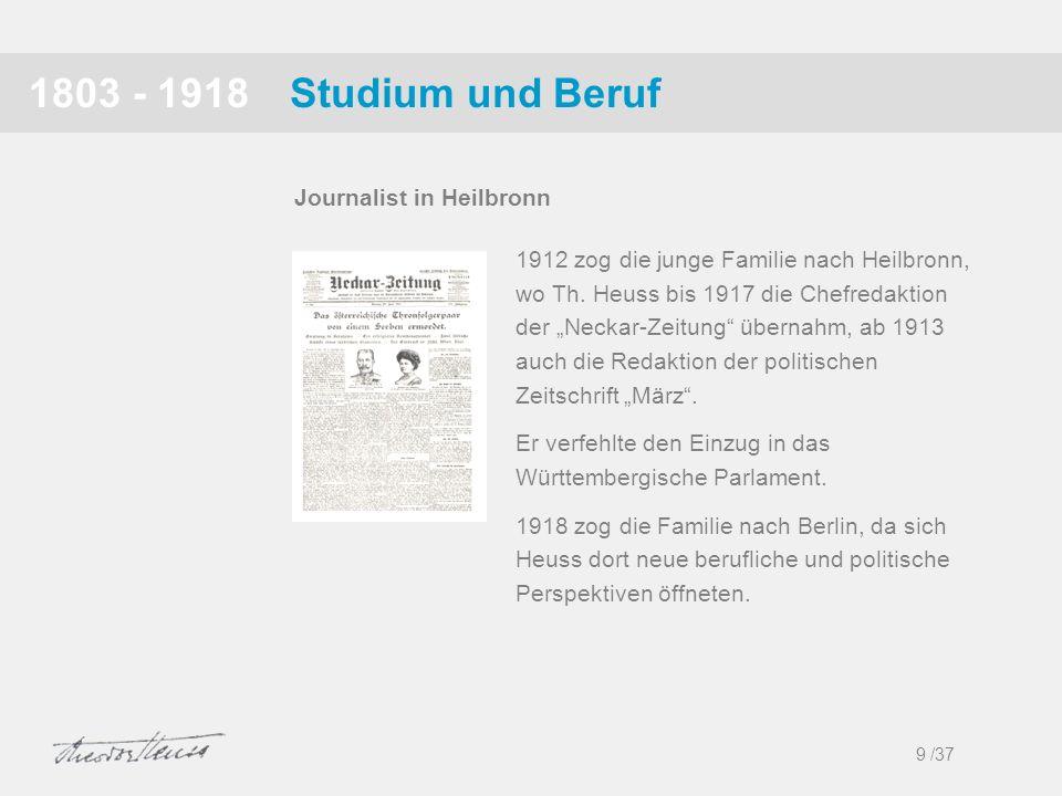 1803 - 1918 Studium und Beruf Journalist in Heilbronn