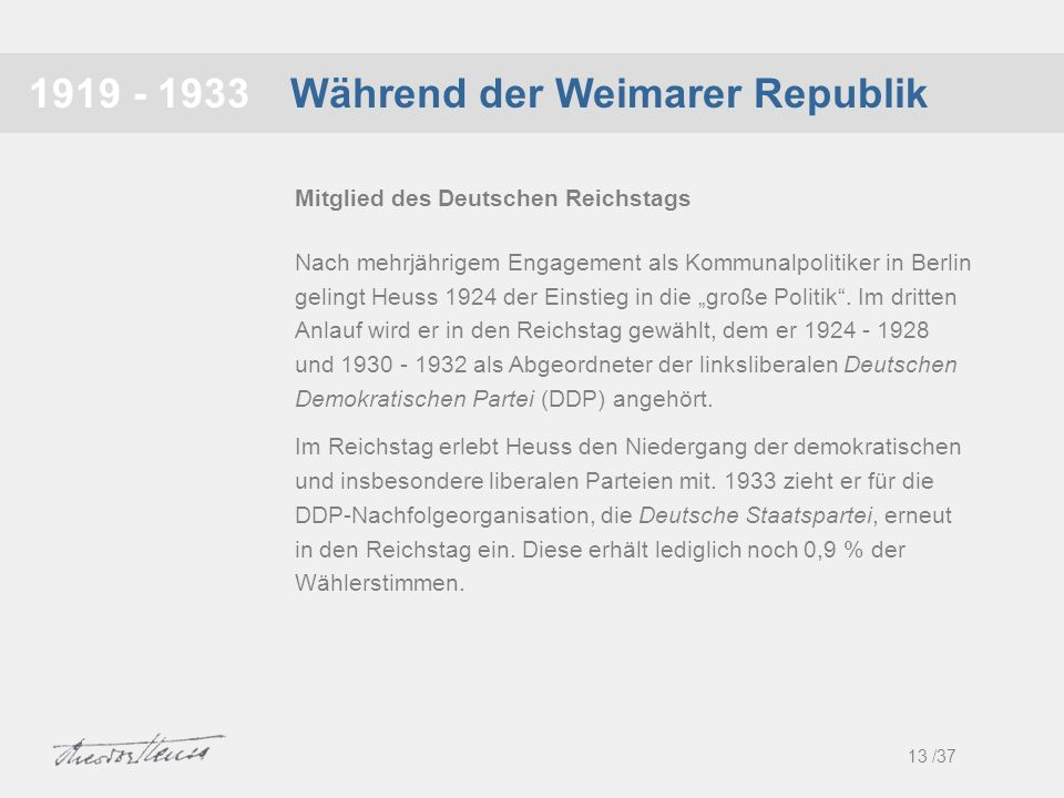 Während der Weimarer Republik