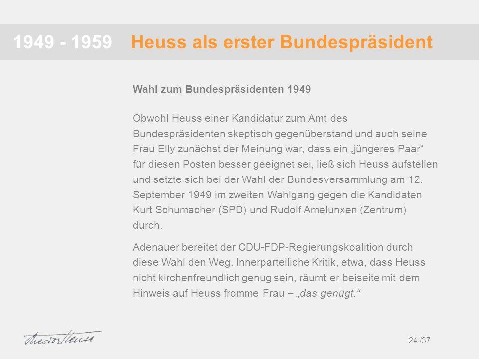 Heuss als erster Bundespräsident