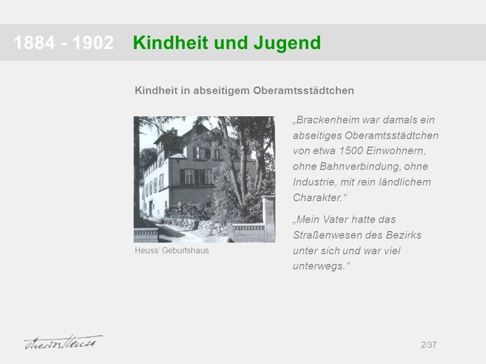 1884 - 1902 Kindheit und Jugend. Kindheit in abseitigem Oberamtsstädtchen.