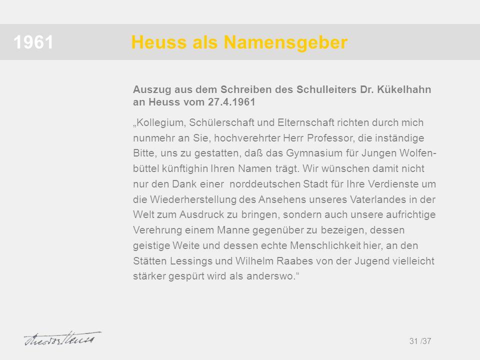 1961 Heuss als Namensgeber. Auszug aus dem Schreiben des Schulleiters Dr. Kükelhahn an Heuss vom 27.4.1961.