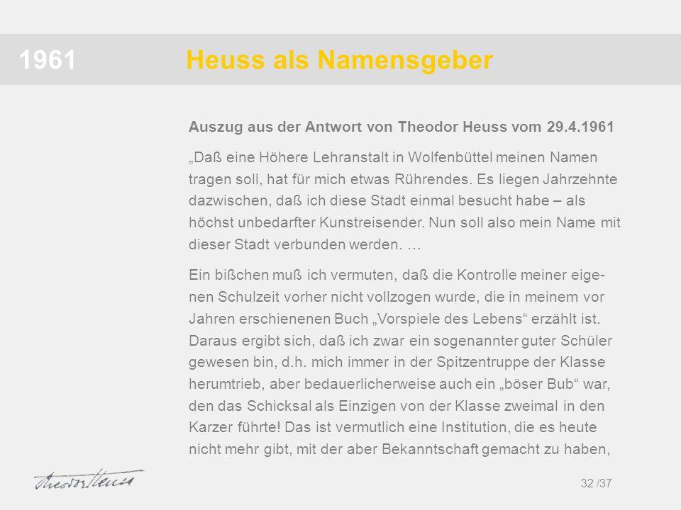 1961 Heuss als Namensgeber. Auszug aus der Antwort von Theodor Heuss vom 29.4.1961.