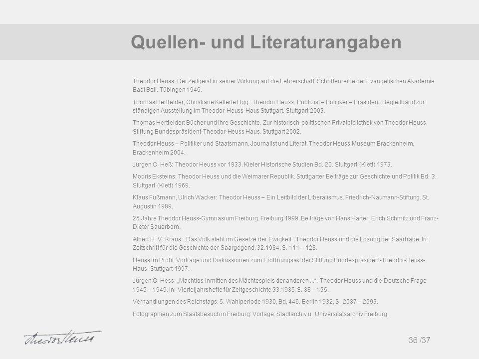 1 Quellen- und Literaturangaben 36 /37
