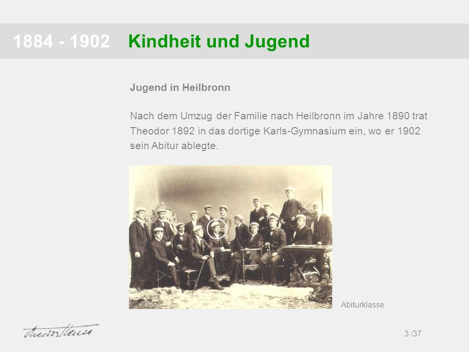 1884 - 1902 Kindheit und Jugend Jugend in Heilbronn