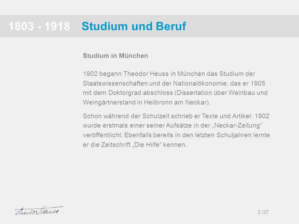 1803 - 1918 Studium und Beruf Studium in München