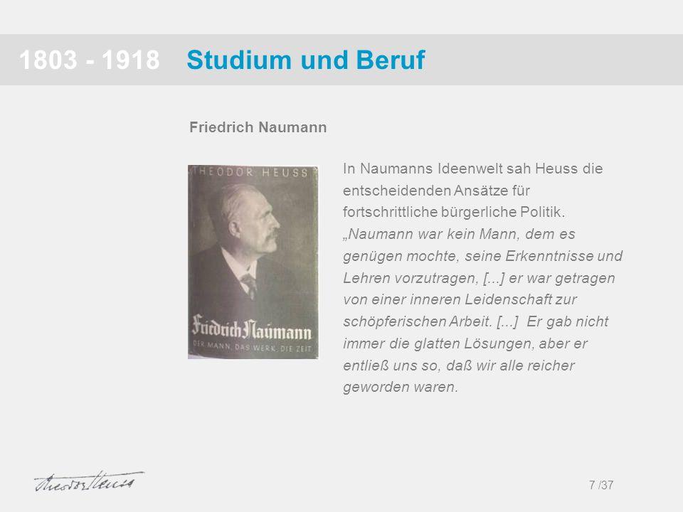 1803 - 1918 Studium und Beruf Friedrich Naumann
