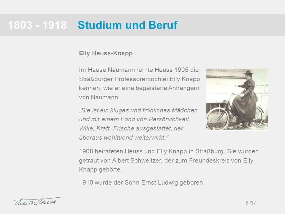 1803 - 1918 Studium und Beruf Elly Heuss-Knapp
