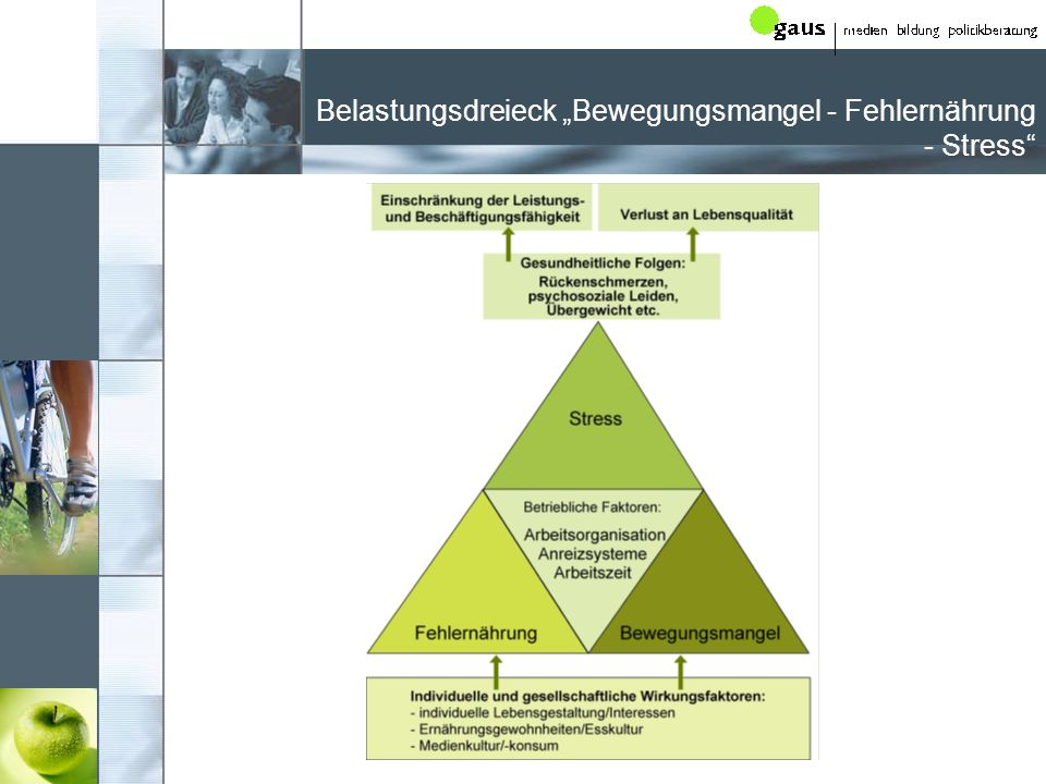"""Belastungsdreieck """"Bewegungsmangel - Fehlernährung - Stress"""