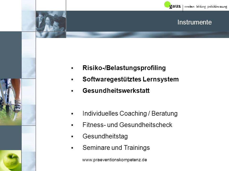Risiko-/Belastungsprofiling Softwaregestütztes Lernsystem