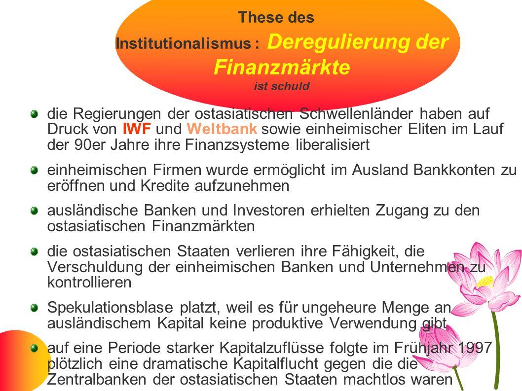 These des Institutionalismus : Deregulierung der Finanzmärkte ist schuld