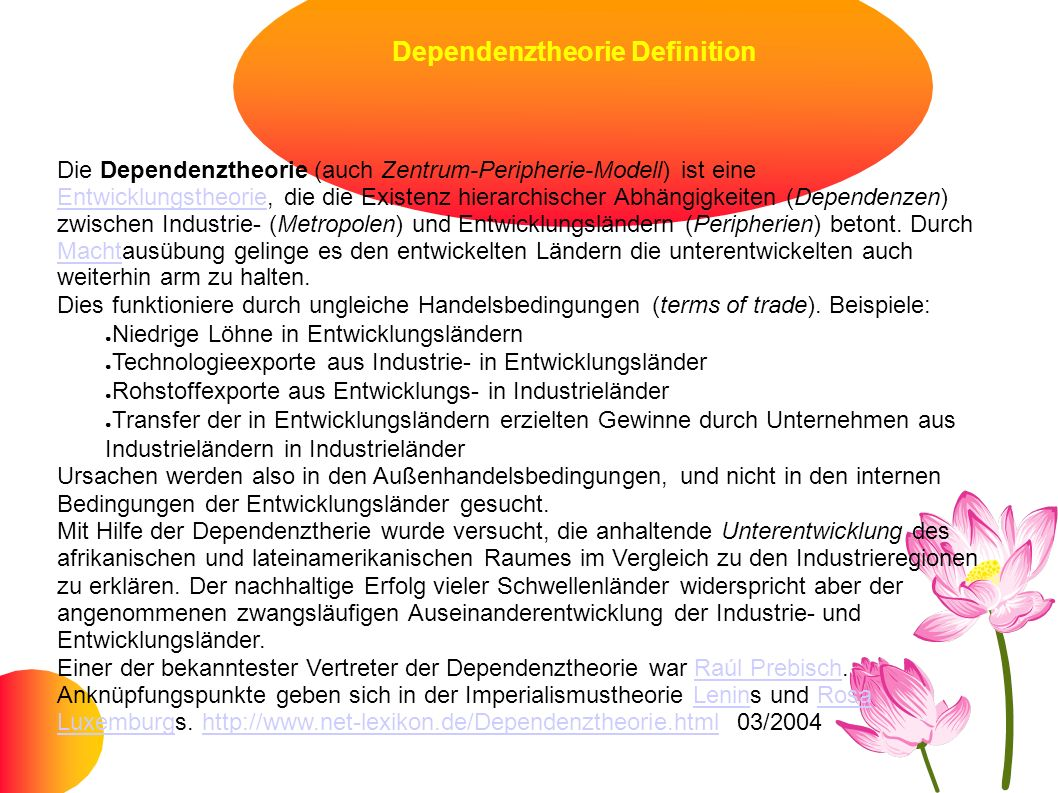 Dependenztheorie Definition