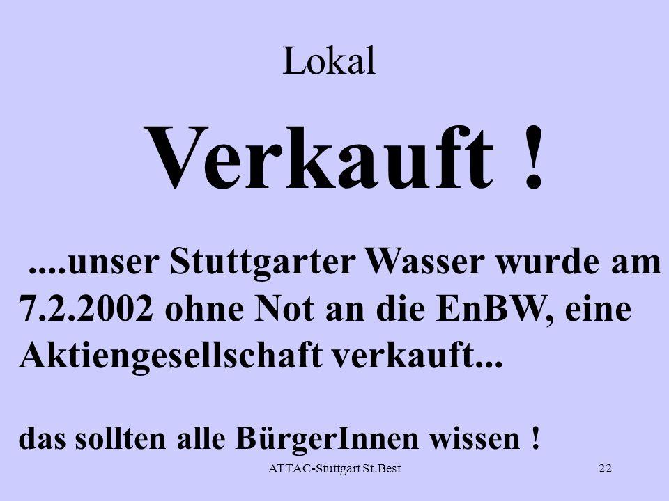 Verkauft ! Lokal ....unser Stuttgarter Wasser wurde am