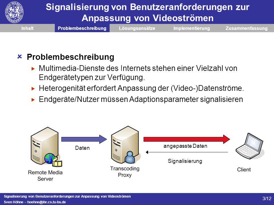 Signalisierung von Benutzeranforderungen zur Anpassung von Videoströmen