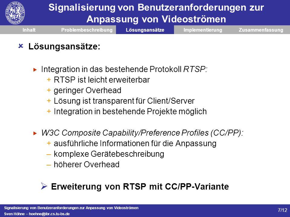 Erweiterung von RTSP mit CC/PP-Variante
