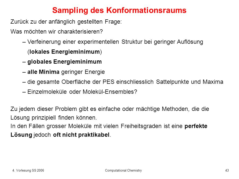 Sampling des Konformationsraums