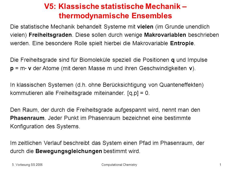 V5: Klassische statistische Mechanik – thermodynamische Ensembles