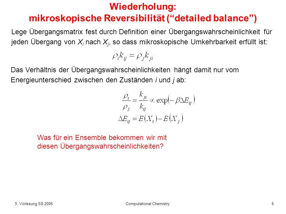 Wiederholung: mikroskopische Reversibilität ( detailed balance )