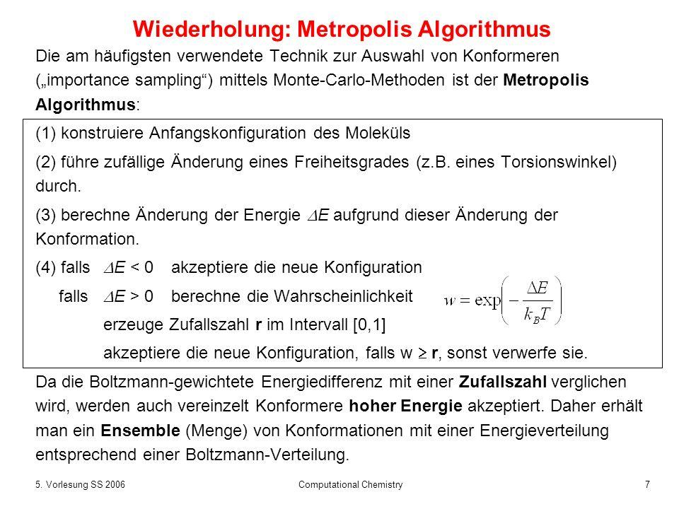 Wiederholung: Metropolis Algorithmus