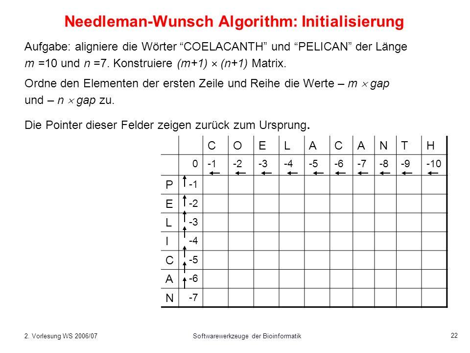 Needleman-Wunsch Algorithm: Initialisierung