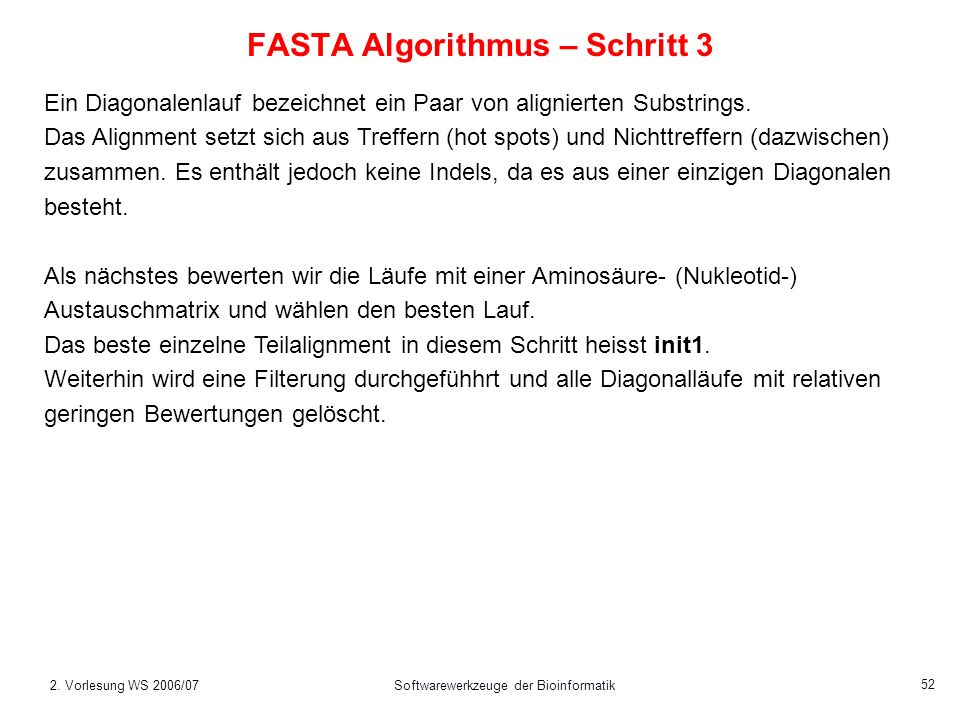 FASTA Algorithmus – Schritt 3