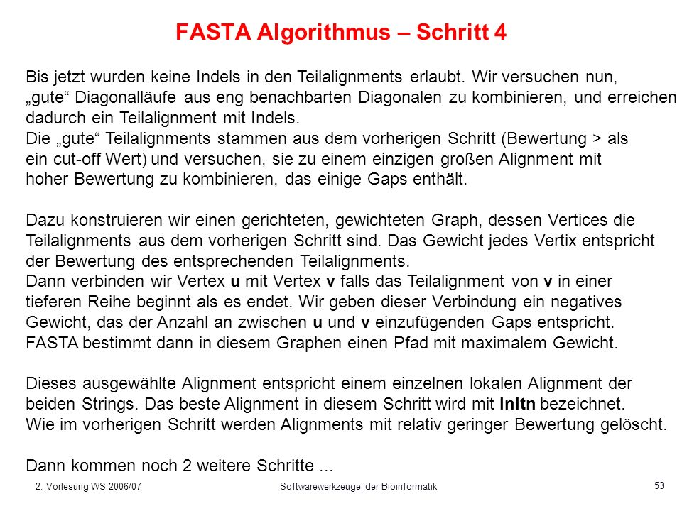 FASTA Algorithmus – Schritt 4