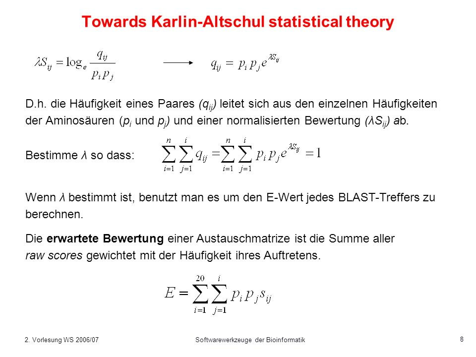 Towards Karlin-Altschul statistical theory