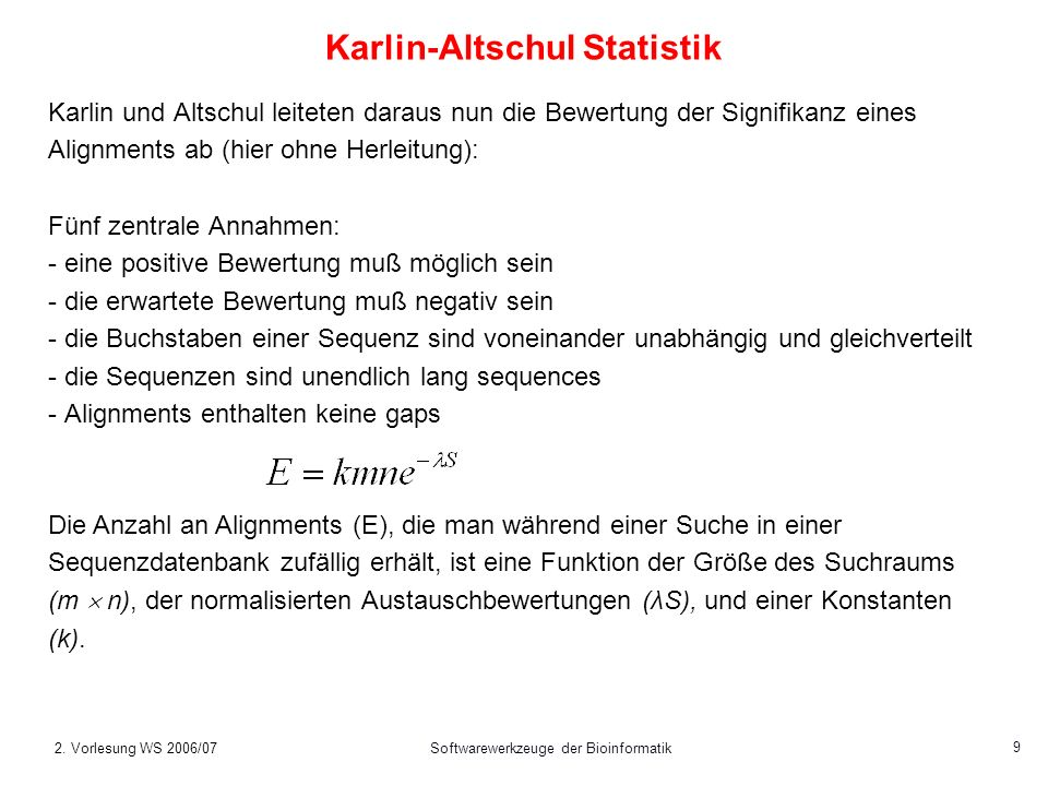 Karlin-Altschul Statistik