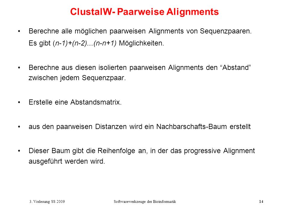 ClustalW- Paarweise Alignments