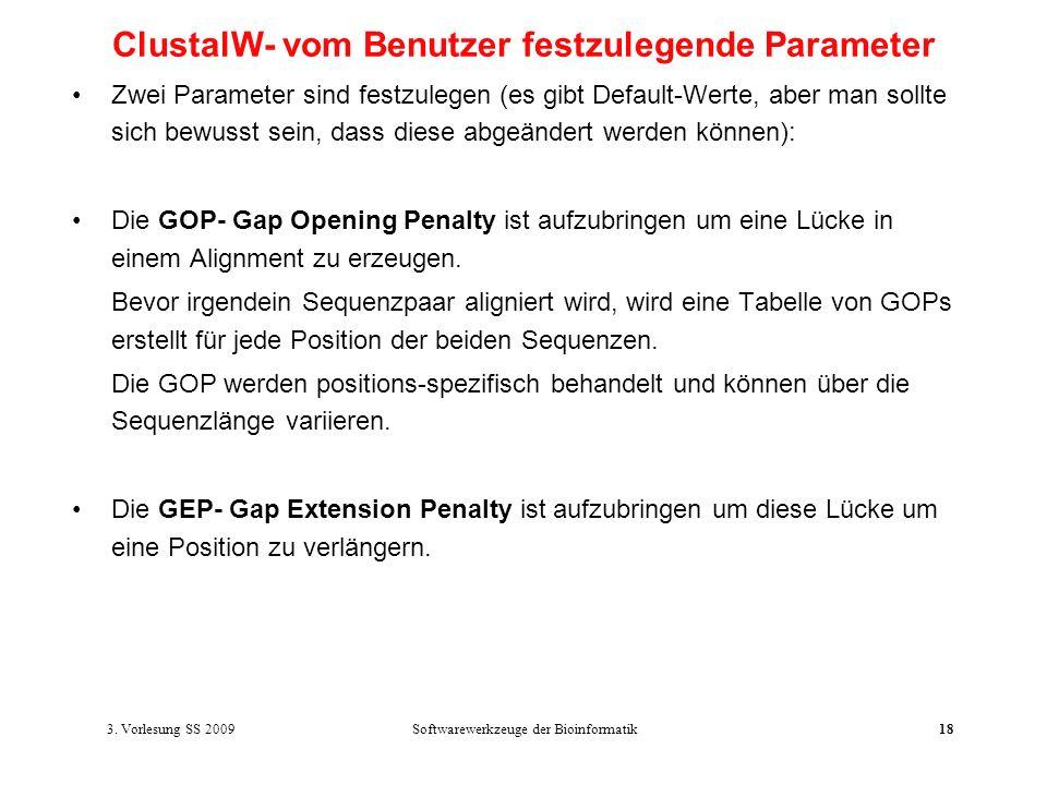 ClustalW- vom Benutzer festzulegende Parameter