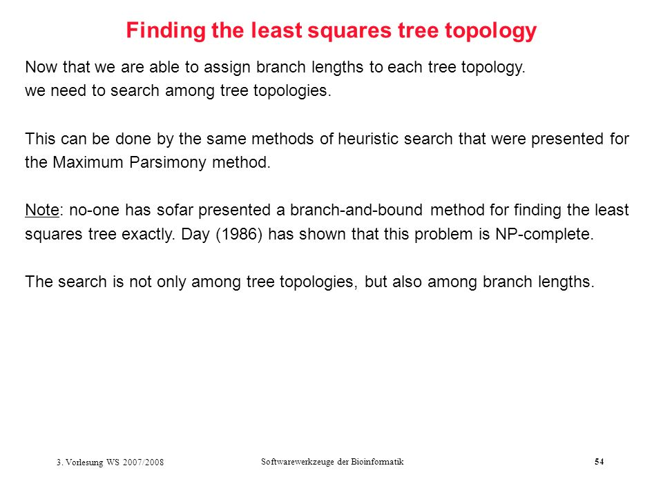 Finding the least squares tree topology