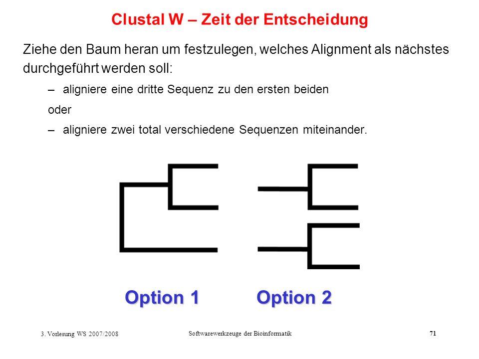 Clustal W – Zeit der Entscheidung
