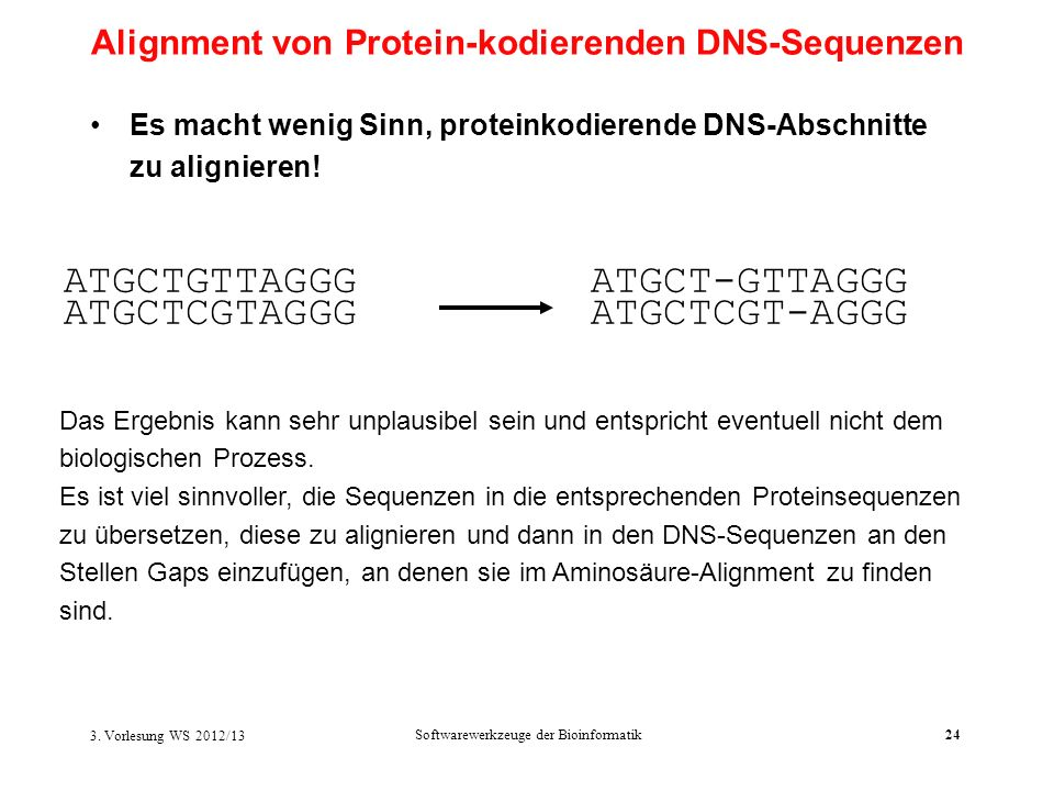 Alignment von Protein-kodierenden DNS-Sequenzen