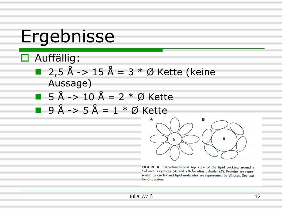 Ergebnisse Auffällig: 2,5 Å -> 15 Å = 3 * Ø Kette (keine Aussage)