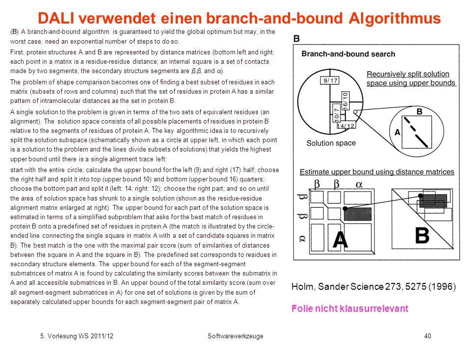 DALI verwendet einen branch-and-bound Algorithmus