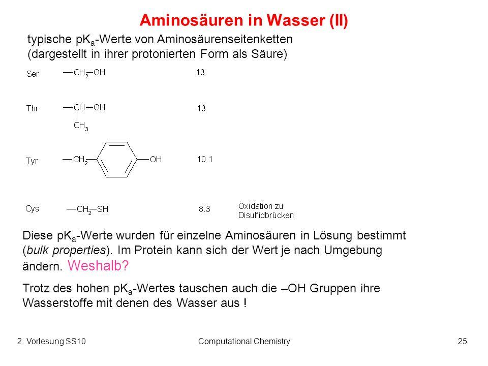 Aminosäuren in Wasser (II)