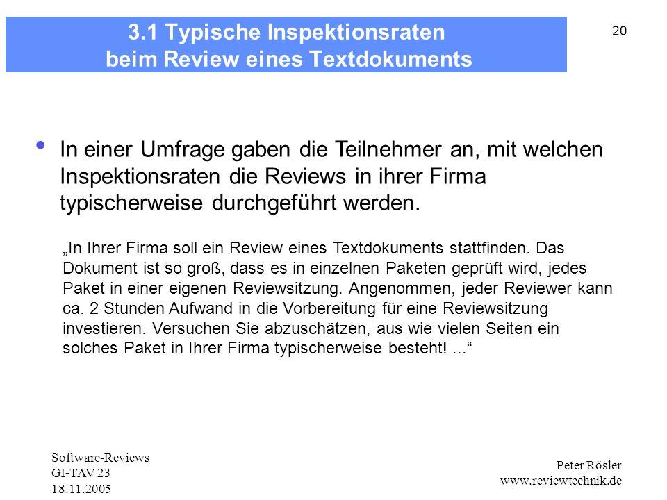 3.1 Typische Inspektionsraten beim Review eines Textdokuments