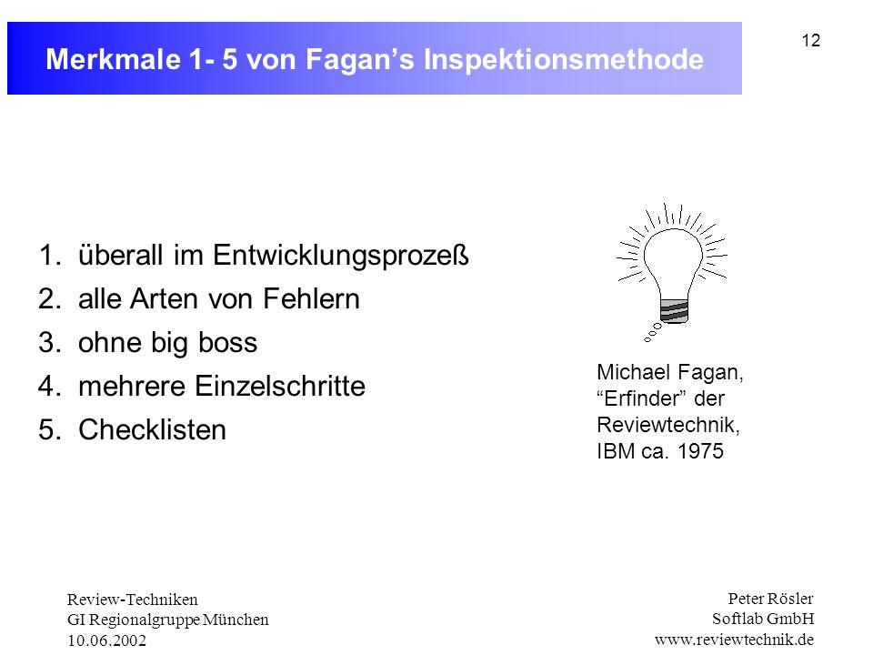 Merkmale 1- 5 von Fagan's Inspektionsmethode