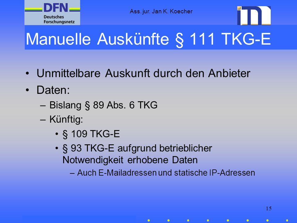 Manuelle Auskünfte § 111 TKG-E