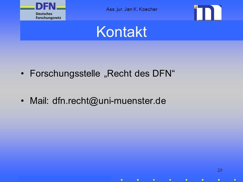"""Kontakt Forschungsstelle """"Recht des DFN"""