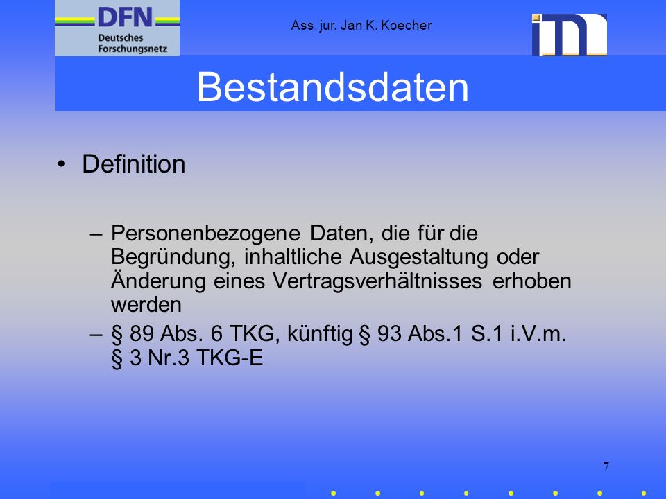 Bestandsdaten Definition
